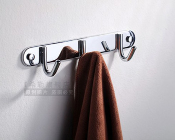 Wall Mounted Brass Chrome Finish Bathroom Clothes 3 Hooks Coat and Hat Hanger