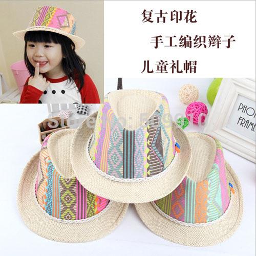 Children's Summer Fedora Hat Kids Straw Sunhat Kids Fedoras Baby Jazz cap top hat 3 colors 10pcs/lot BH-1061(China (Mainland))