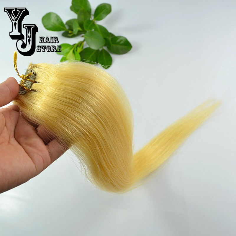 6pcs/8pcs/10pcs/set 20″Long 30g 100g 180g #24 Pale Golden Blonde Brazilian Hair Clip In Remy Human Hair Extensions High Quality