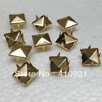 100pcs/lot NEW 10mm Rose Gold Pyramid Studs Rivet Spike Nickel Punk Bag Belt Shoes Leathercraft DIY Findings Hot Wholesale Lot