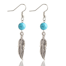 Vintage Jewelry Bead Feather Alloy Plated Silver Drop Earrings For Women Leaf Dangle Earrings Wholesale Accessory Brincos