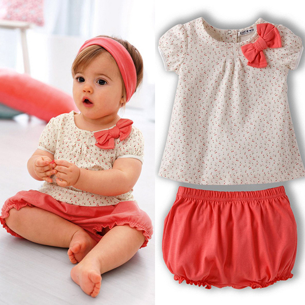 Free &amp; Dropshipping Kids Baby Girls Cherry Clothes Set Dots T-shirt Tops+Pants 2Pcs Outfits Bow Cotton Clothes Set<br><br>Aliexpress