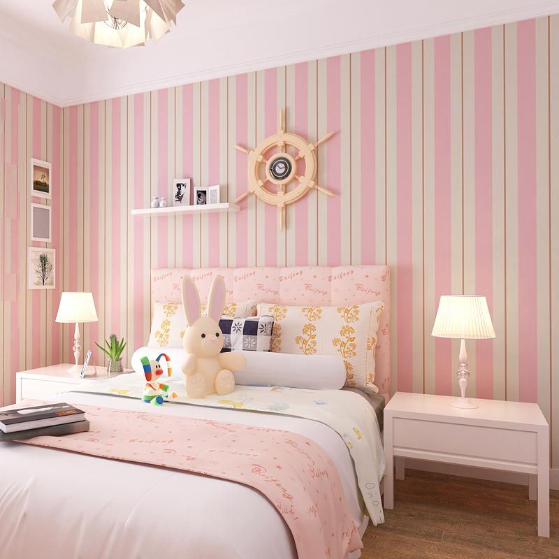 New pattern striped wallpaper blue and white and pink for Pink living room wallpaper