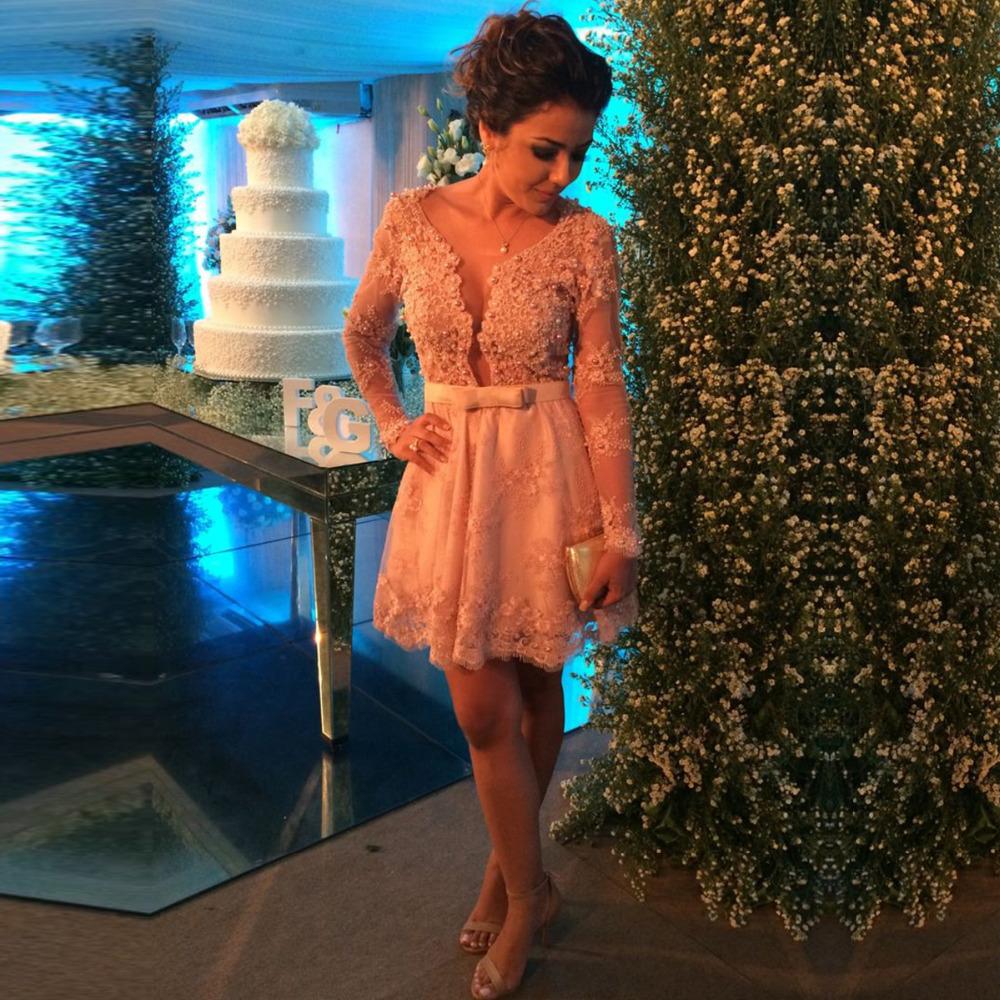 Vestido де феста длинный рукав кружево короткая пром платья жемчуг короткая ну вечеринку платье