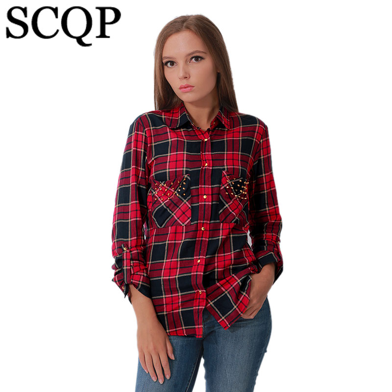 Buy new long sleeve plaid shirts for Womens red plaid shirts blouses