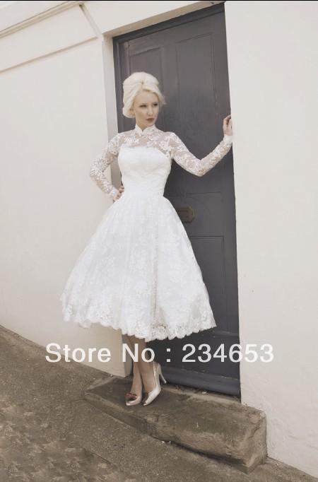 Vintage high collar lace long sleeve 2013 short wedding for Long sleeve tea length wedding dresses