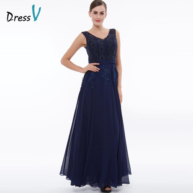 Dressv dark navy beading A-line evening dress appliques chiffon wedding party mother of the bride dress 2017 long evening dress(China (Mainland))