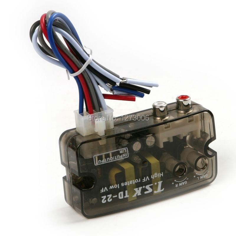 1PCS 12V Car Speaker Converter To RCA Level Adaptor Car Audio Speaker Level Converter HI-LOW Car-stying