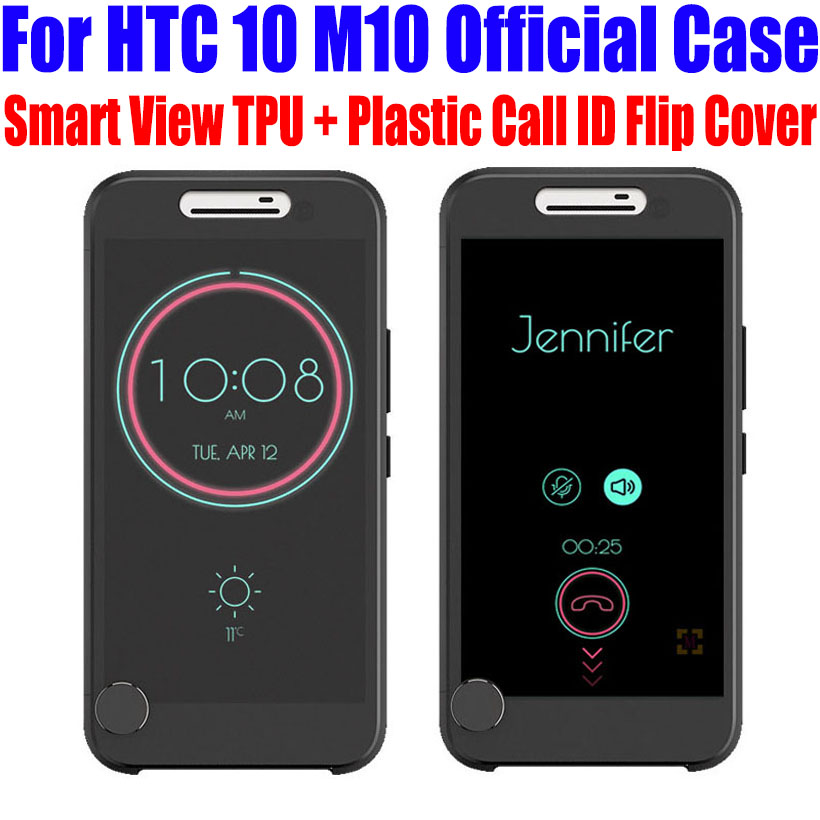 For HTC 10 M10 Case Official TPU + Plastic Call ID Smart ICE View Flip Cover For HTC 10 LIFESTYLE + Screen Protector M102(China (Mainland))
