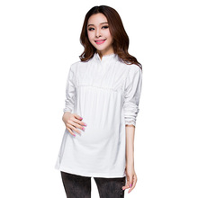 Maternity Tees Long Sleeve Shirt White Gray Buttons Nurse Clothes(China (Mainland))