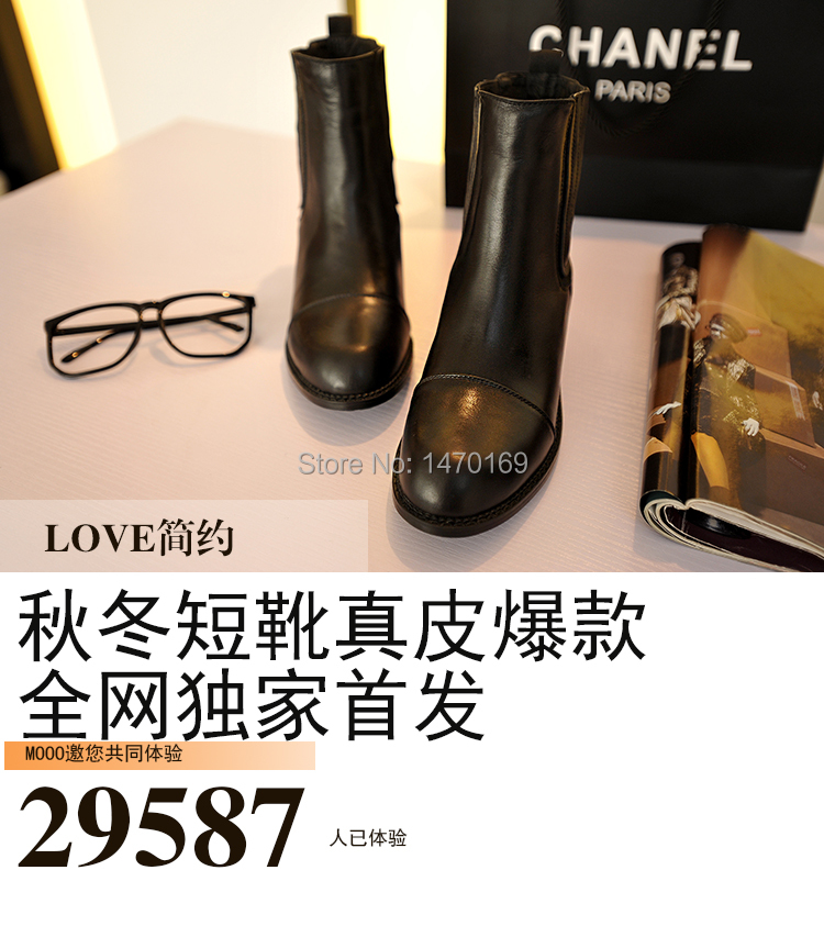 2015 Rushed Autumn Boots Spring And Autumn Low-heeled Martin Boots Female British Style Pedicure Genuine Short Ankle Size 35-40(China (Mainland))