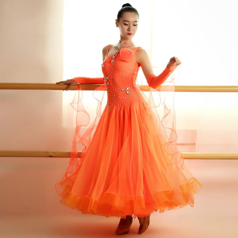 2017 nuevas faldas de baile de salón más nuevo diseño hecho a mano de danza dress/competencia estándar ballroom dress modern waltz tango
