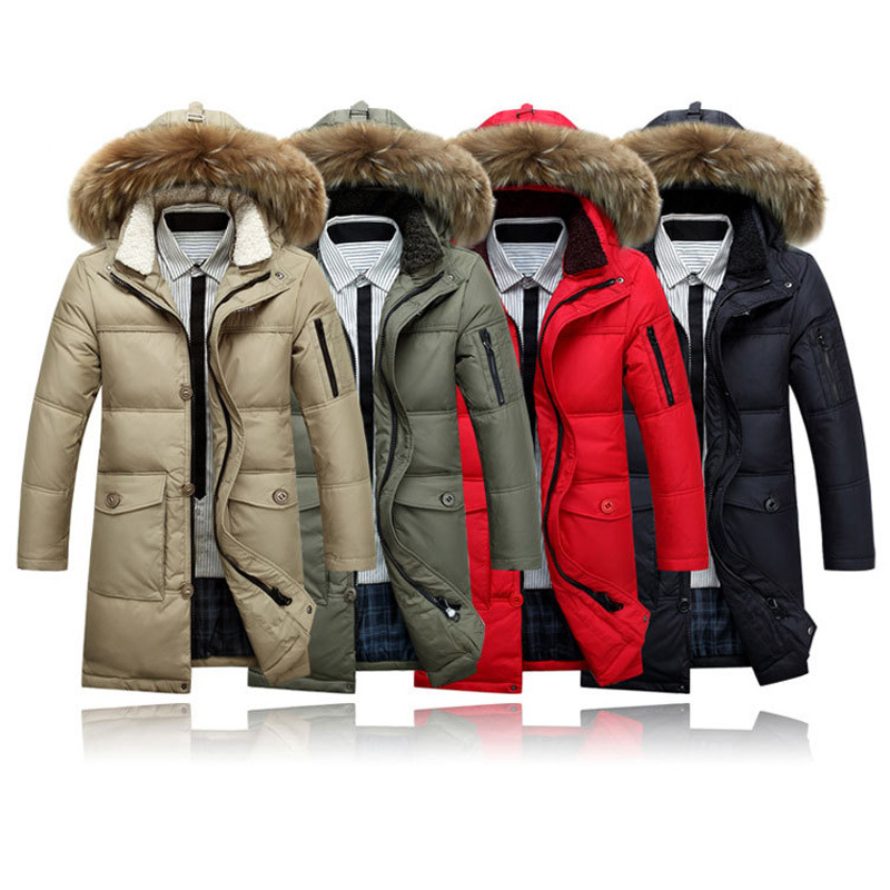 Winter Men's Long Design Down Jackets Coats Mens Fashion Thick Warm Big Fur Collar Hooded Jacket for Men 90% White goose down(China (Mainland))