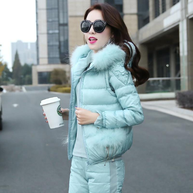 2015 Korean Fashion Winter Women Warm Cotton Coat Set Three -pieces Together Fur Collar Hooded Short Jacket Warm Outerwear AE247(China (Mainland))