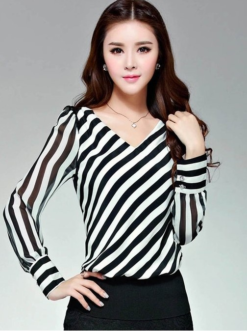 Plus size female slim all-match elegant long-sleeve V-neck chiffon shirt - bingwen chen's store