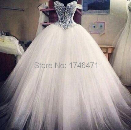 Vestidos De Noiva White Strapless Romantic Wedding Dresses Ball Gown Pearls Bridal Gowns Lace Up Back