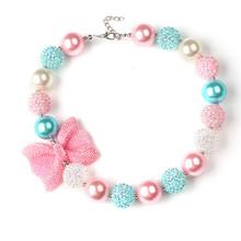 2 Pcs bonbons perles Bubblegum collier enfants cadeau d'anniversaire strass Bowknot filles Chunky collier pour bébé(China (Mainland))