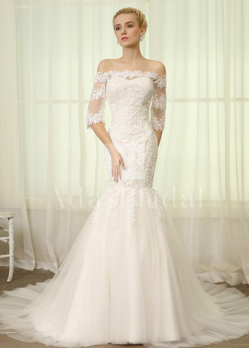Sheer Sleeve Wedding Dress