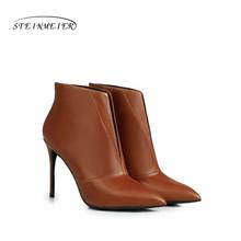 Kadın Kış yarım çizmeler hakiki deri 10 cm sivri burun fermuar seksi ince topuk gri siyah kısa çizme mat çizmeler kadın ayakkabısı(China)
