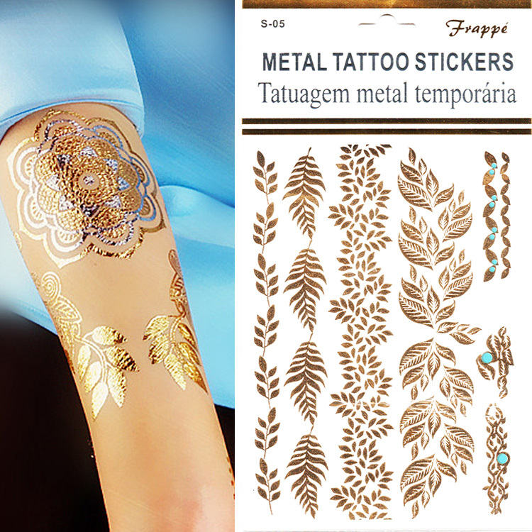 Cheap Sale 1pcs Gold / Golden Leaf Designs Fake Tatoo Stickers On The Body Transferable Temporary Flash Tattoo Sticker Chalker(China (Mainland))