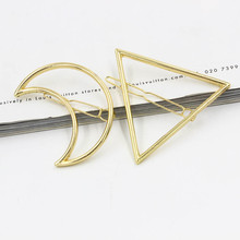 1 PC Moon Triangle Design Exquisite Metal Hair Clips Hairpins Hairwear Accessories Women Fashion Jewelry Free shipping(China (Mainland))