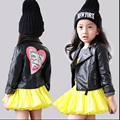 Korean PU Leather Girls Spring Jacket Clothes Casual Motorcycle Kids Coat Zipper Children Clothing Suit Jaqueta