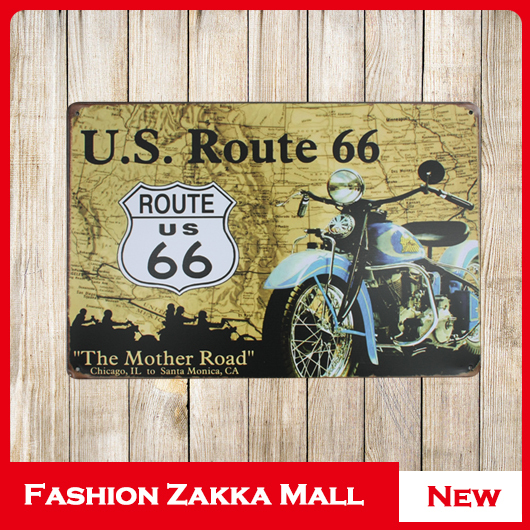 Fashion U S Route 66 Vintage Home Decor Tin Sign Bar Pub