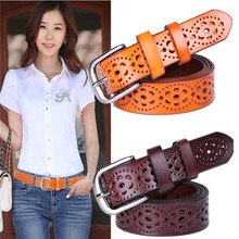 New Women Fashion Wide Genuine Leather Belt Woman Without Drilling Luxury Jeans Belts Female Top Quality Straps Ceinture Femme(China (Mainland))