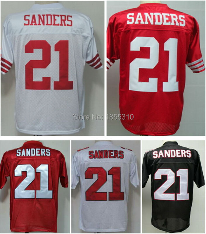 Cheap Sale #21 Deion Sanders Jersey Red White Black Mens Stitched Vintage Throwback Football Jerseys Sport Shirts Mix Order(China (Mainland))