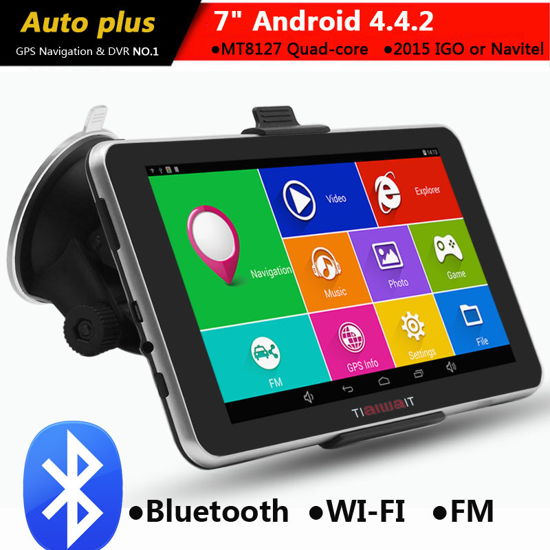7 inch Capacitive Car GPS Navigation Android 4.4.2 Bluetooth WIFI MT8127 Quad Core 8G Vehicle gps navigator Navitel Europe map(China (Mainland))