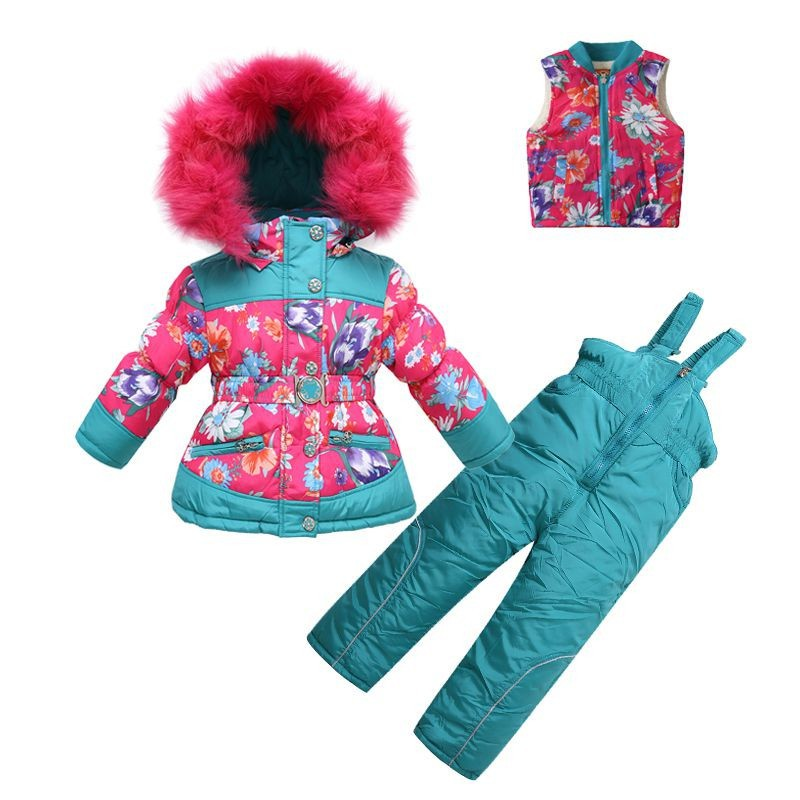 2016 Russia Flower Girl Ski suit sets children Winter clothing sets baby Jumpsuits fur Jackets/coats+natural wool vest+trousers(China (Mainland))