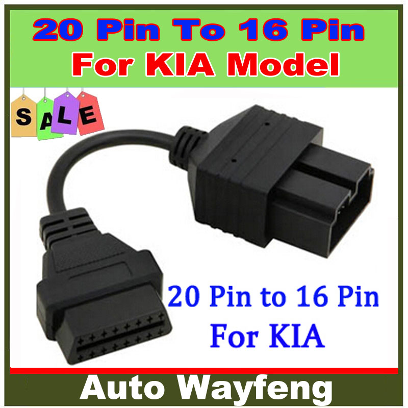 2015 Tuning Car Styling Tools Electric 20 Pin To Obd Obd2 Obdii 16 Car Diagnostic Adapter Converter Cable for Kia, free Shipping(China (Mainland))