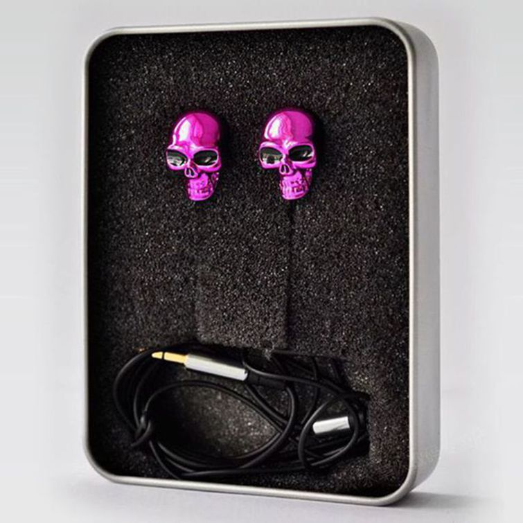 Hot Newest Earphone Trend 3.5mm Retail Red Skull Design Earplugs & Mic For iPhone 3G 3GS(China (Mainland))