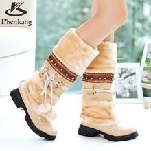 Nuevo Estilo de Otoño Invierno Cálido zapatos baratos de alta tejer femenina Vendaje botas de nieve artificial de cuero matorral ocasional mitad de la pantorrilla zapatos(China (Mainland))