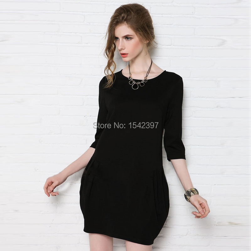 2015 spring summer autum plus size woman dress black vestido cheap clothes china S M L XL XXL XXXL - Amery's finca store