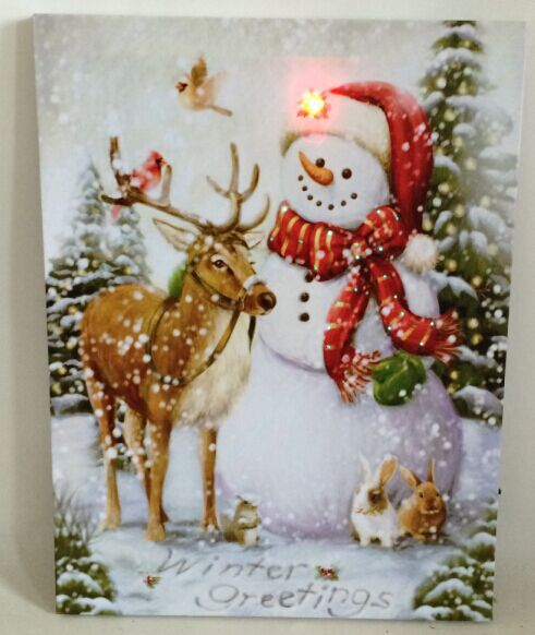 Free Shipping battery operated Christmas wall art with fiber optical lights(China (Mainland))