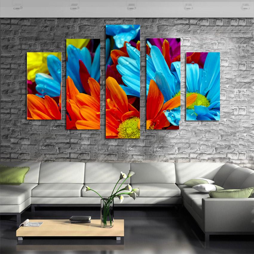 Home decoration printed oil painting canvas prints no frame 5 panel home decor large colorful - Home decoration wholesale paint ...