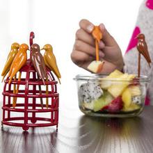 bird fruit fork plastic birdcage dessert fork tableware environmental kitchen dining tool fruit pin barware free shipping Z-202