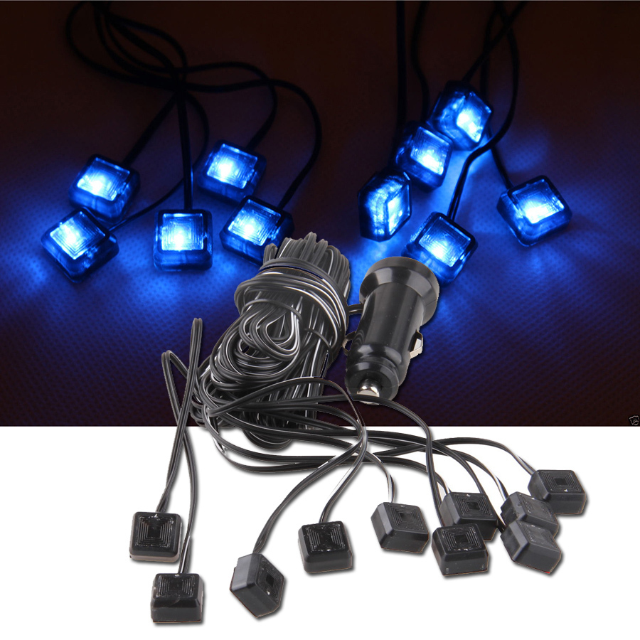 -90% OFF 1 Set 12V Auto Car Charge Interior LED Atmosphere Lights Decoration Lamp Blue Color Las Luces Luci Luzes Hafif Far(China (Mainland))