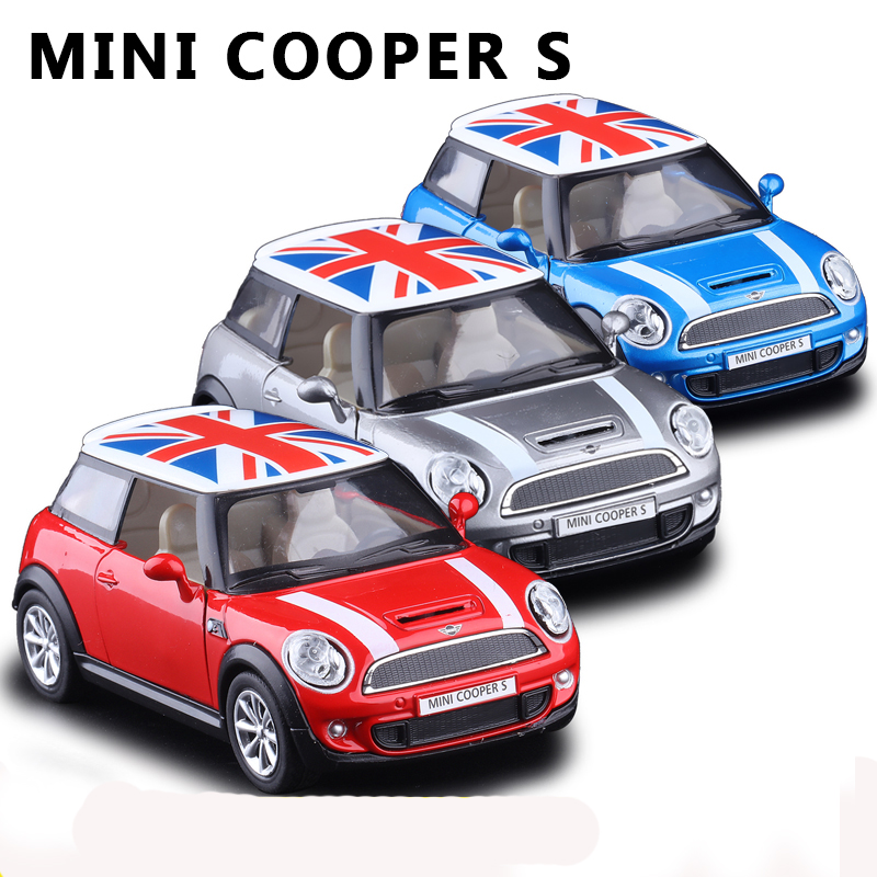 Hot sale delicate blue MINI cooper S simulation model alloy car pull back home decoration gift toy(China (Mainland))