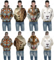 Colorful Cartoon Tiger Sweater Hoodies Retro Brown Lion Hooded Sweatshirt White Leopard Skateboarding Hoodies Mens Sport