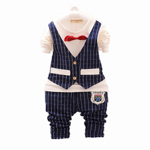 New 2015 Spring Fashion Baby Boy Clothes Gentleman Suit Long Sleeve Stitching plaid vest and tie T-shirt + Pants Clothing Set