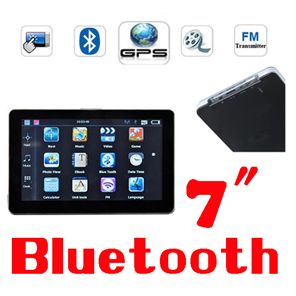 BY DHL OR EMS 30 pieces 7 inch GPS Navigation Bluetooh+Av-In+FM Transmitter + 4GB Memory Free Map(China (Mainland))