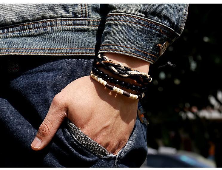 Оригинал 3 в 1 старинные мужской браслеты черные деревянные мяч бусины прядь браслеты ручной работы веревка плетеный браслет мужчины ювелирные изделия