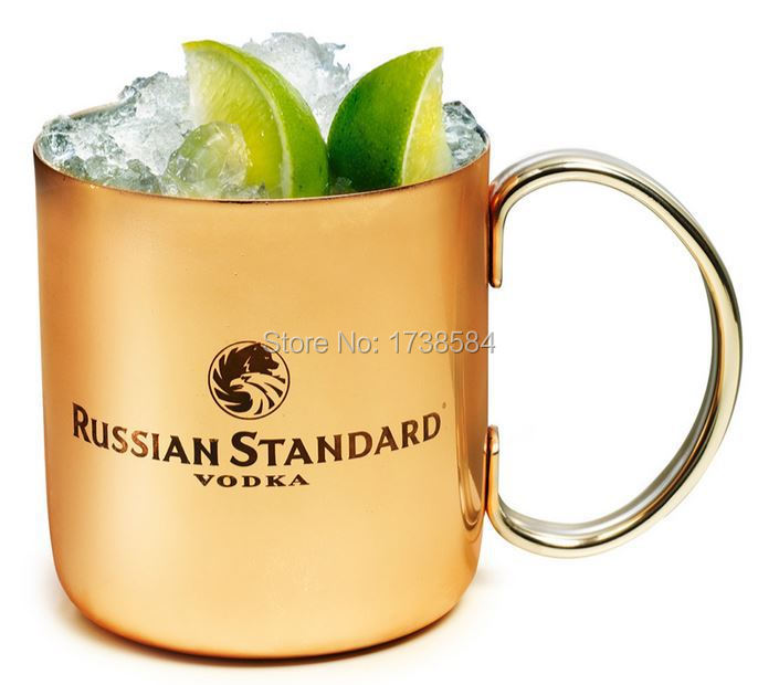 12 ounce Stainless steel plated copper cup,Russian Standard Moscow Mule Copper mug 350ml barware,drinking beer outer shell mugs(China (Mainland))