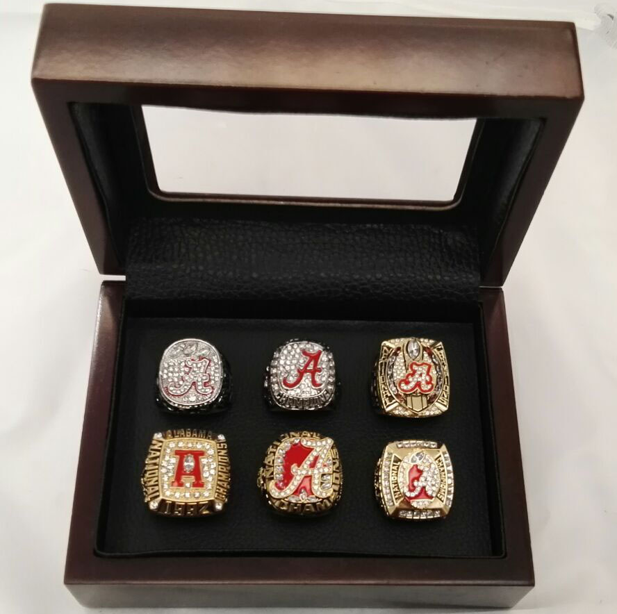 Wholesale Replica 6 Sets 1992/2009/2011/2012/2015/2015 Alabama Crimson Tide National Championship Rings With Wooden Boxes(China (Mainland))