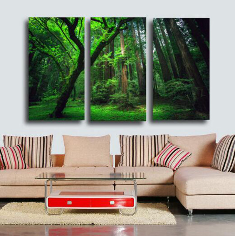 New Design 3D Green Tree Landscape Printing 3 Pcs Canvas Paintings For Living Room Elegant Wall Art Pictures No Frame(China (Mainland))