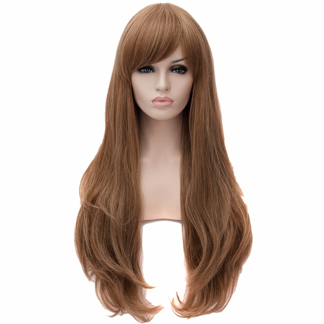 Women Natural Curly Large Wavy hairstyle Long Light Brown Side Fringe Wigs<br><br>Aliexpress
