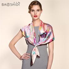 2016 New Arrival 100% Satin Silk 90*90 Large Square Scarf , BAOSHIDI Luxury Brand original design, Present for elegant lady(China (Mainland))