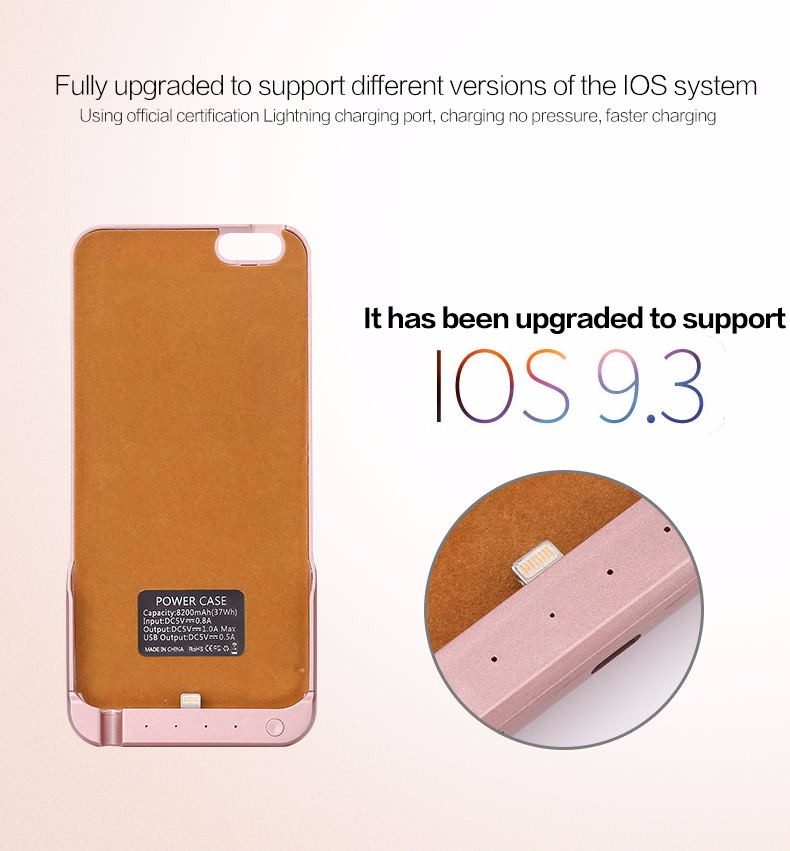 """new arrival! luxury high quality for iPhone 6plus """" 5.5 power Case 8200mAh External Battery Charger Power Bank + tracking number"""